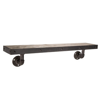Distressed Industrial Wood Wall Shelf